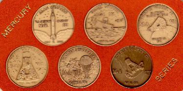 NASA Project Mercury Series Antique Bronze Minted Commemorative 6 Medallion