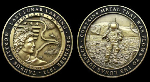 Apollo 17 Medallion Minted With Flown To Lunar Surface Metal Nasa