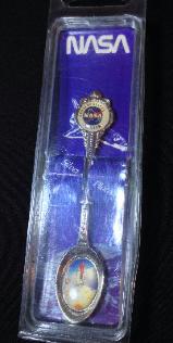 NASA Logo & Shuttle Lift Off Collectable Spoon Rare 80s