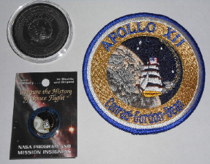 Apollo 12 Coin Flown To Moon Patch Pin Collector Medallion NASA Space Progr