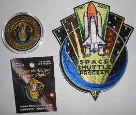 Space Shuttle Coin Flown In Space, Patch, Pin Collection Medallion NASA Pro