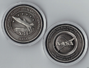 NASA DRYDEN USAF SPACE X-15 MEDALLION MADE FLOWN METAL FROM AN X-15 AIRCRAF