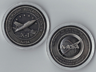 NASA DRYDEN USAF SPACE X-1 MEDALLION MADE FLOWN METAL FROM AN X-1 AIRCRAFT