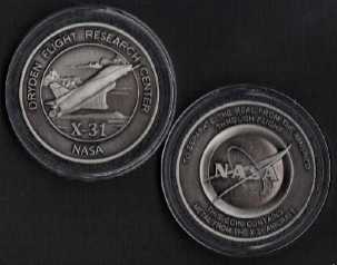 NASA USAF ROCKWELL X-31 COIN MEDALLION CONTAINS METAL FROM AN X-31 AIRCRAFT