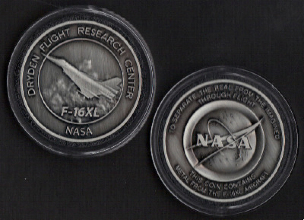 NASA DRYDEN F-16XL COIN MEDALLION - CONTAINS METAL FROM AN F-16XL AIRCRAFT
