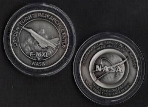 NASA DRYDEN F-16XL COIN MEDALLION - CONTAINS METAL FROM AN F-16XL AIRCRAFT
