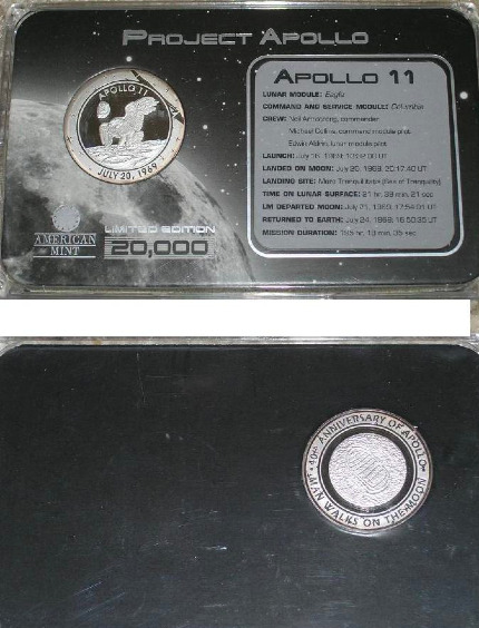 Project Apollo 40th Anniversary, Medal & Holder Display Case Solid Silver