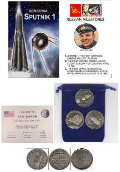 USSR RUSSIAN MILESTONES SPUTNIK 1-1st ORBITAL-1st RENDEZVOUS 3 COIN SET & I