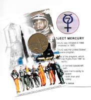 "NASA PROJECT MERCURY ""THE MERCURY 7"" 4"" X 6"" INFO CARD M/R III ANT. BRONZE COIN"