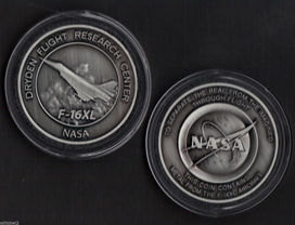 NASA DRYDEN F-16XL COIN MEDALLION CONTAINS FLOWN METAL FROM THE F-16XL AIRC