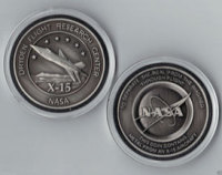 NASA DRYDEN USAF SPACE - X-15 MEDALLION - MADE FLOWN METAL FROM AN X-15 AIRCRAFT
