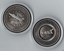 NASA DRYDEN USAF SPACE - X-15 MEDALLION - MADE FLOWN METAL FROM AN X-15 AIR