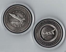 NASA DRYDEN USAF SPACE - X-15 MEDALLION - MADE FLOWN METAL FROM AN X-15 AIR