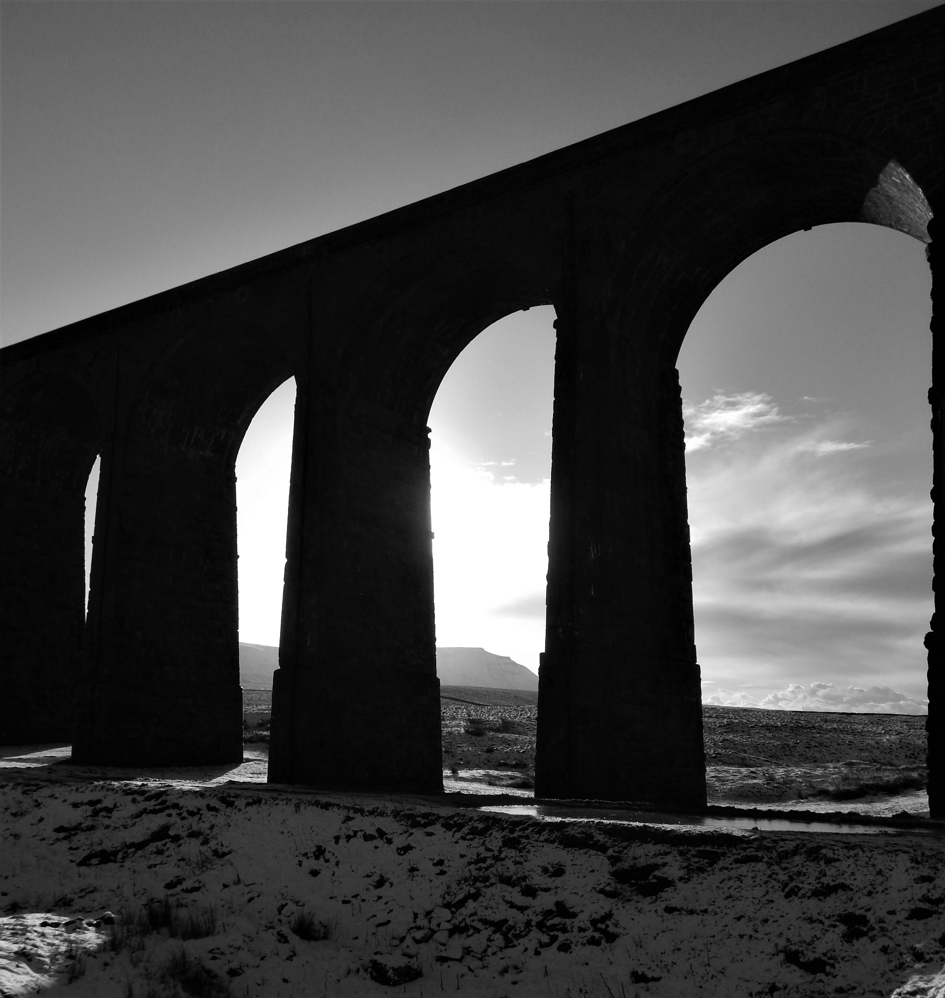 Ribblehead Viaduct and a glimpse of Ingleborough