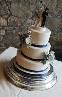 Blue Florals Wedding Cake