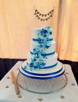 Blue cascade wedding cake
