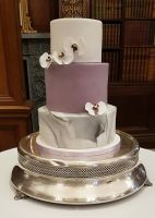 Orchid and marble wedding cake
