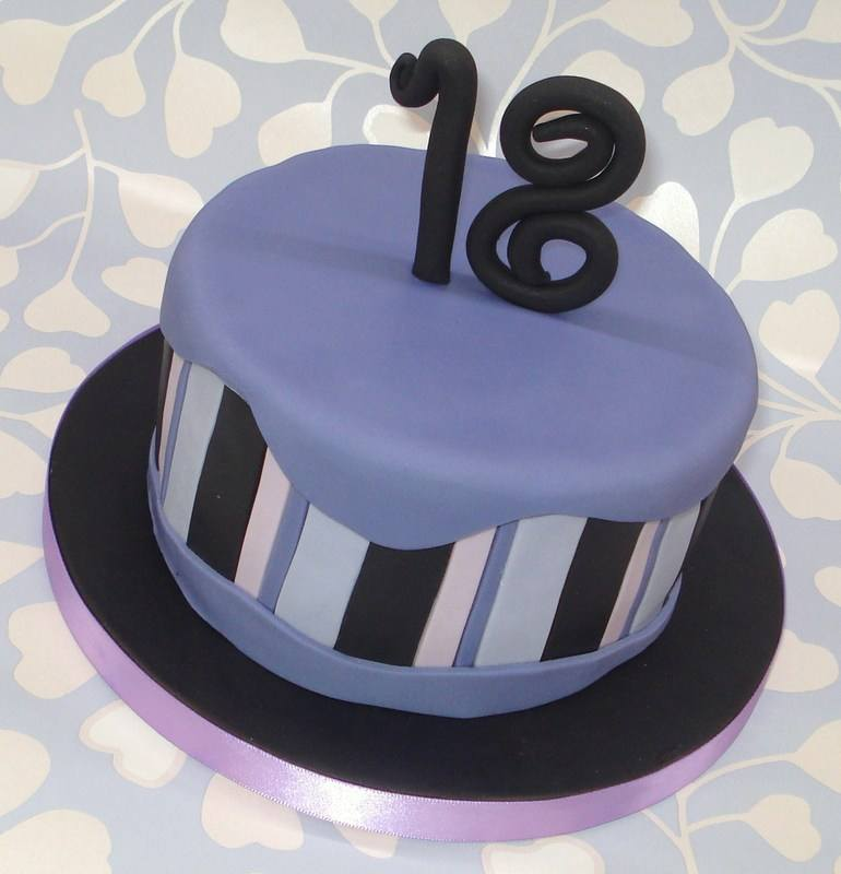 Purple and black 18th birthday cake