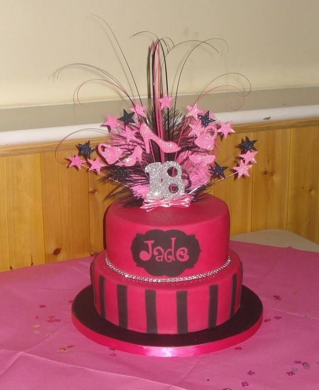 Hot pink 2 tier 18th birthday cake