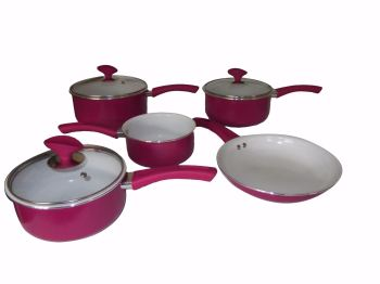 Family Sized Fuchsia 5-Piece Pan Set, Non Stick Ceramic Interior (Full Sized Set).