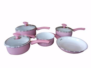Family Sized Pink 5-Piece Pan Set, Ceramic Interior (Full Sized Set).