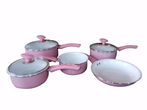 Family Sized Pink 5-Piece Pan Set, Ceramic Interior (Full Sized Set). £44.9