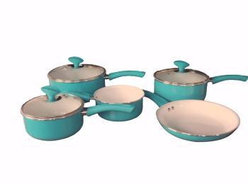 Family Sized Duck Egg 5-Piece Pan Set, Ceramic Interior (Full Sized Set).