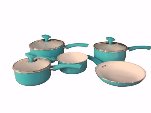 Family Sized Duck Egg 5-Piece Pan Set, Ceramic Interior (Full Sized Set). £