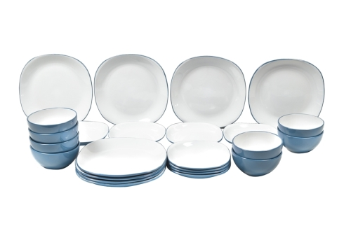 Teal 12+12- Piece 2 Tone Square Dinner Set