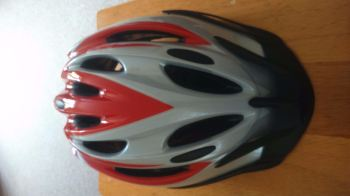 Cycle Helmet 49-54 cms silver/white/red