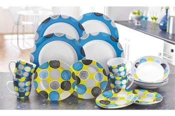 16-Piece Blue/Mustard Circle Dinner Set