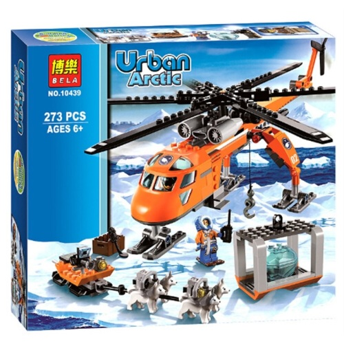 Urban Arctic Helicopter Transport Rescue Team Building Brick/Block Set, Com