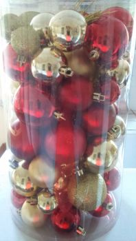 60pc Gold/Red Baubles