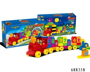 Toddlers First Build Up Block Train With Numbers 72 Pcs