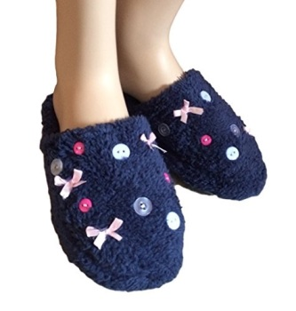 Ladies Button and Bow Slippers. Various Sizes Available