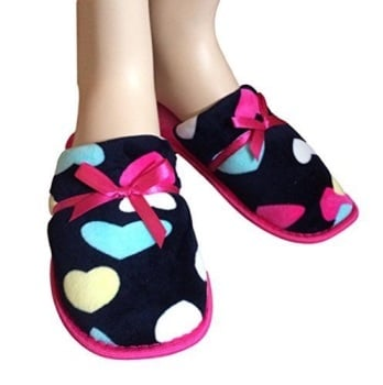Ladies Stars Or Hearts Style Slippers, Various Sizes Available