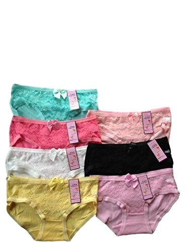 Teen Girls Underwear 7 Pack Lace Briefs/Pants/Knickers One Size To Fit 11-1