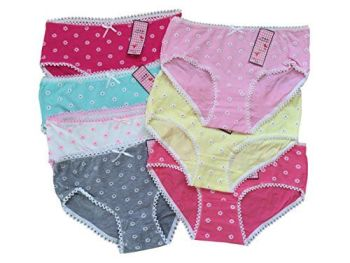 Teen Girls Underwear 7 Pack Mixed Colour Briefs/Pants/Knickers (One Size To Fit 11-16 Yrs).