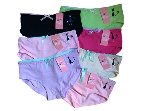 Teen Girls Underwear 7 Pack Cat Briefs/Pants/Knickers (One Size To Fit 11-1