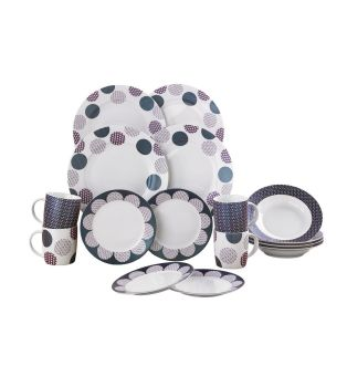 16-Piece New Bone China Circles Dinner Set
