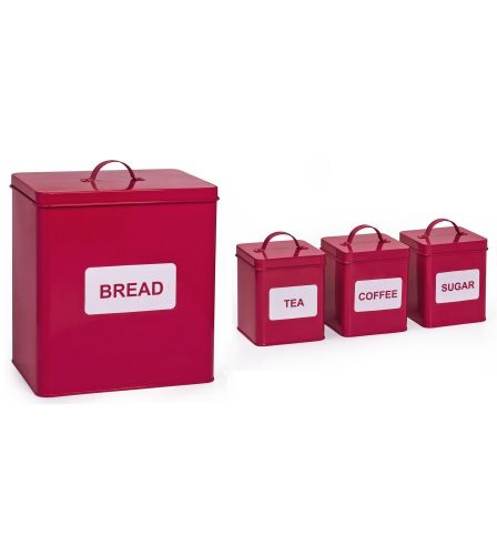 4 Piece Storage Set Red/White