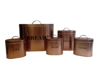 C&C Stylish 5-Piece Copper Coated Kitchen Oval Storage Set