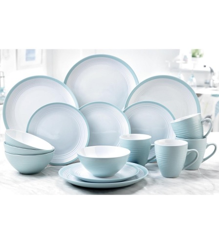 16-Piece Turquoise and White Stoneware Dinner Set