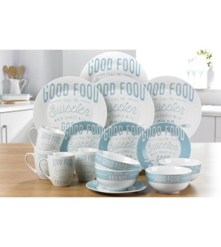 "16-Piece Porcelain ""Good Food"" Dinner Set"