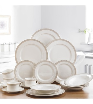 20-Piece Gold Spiral New Bone China Dinner Set