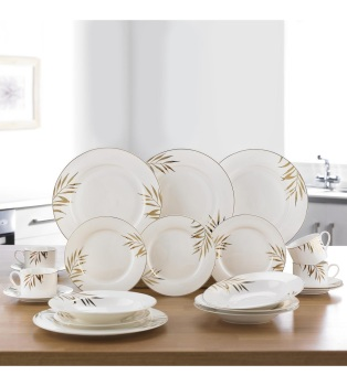 20-Piece New Bone China Gold Leaf Dinner Set