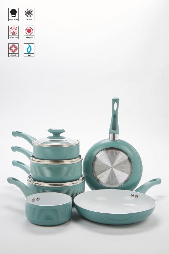 6-Piece Duck-Egg Ribbed Ceramic Non-Stick Pan Set