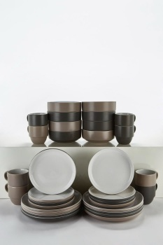32-Piece Mix and Match 2 Tone Stoneware Dinner Set With Stack Mugs
