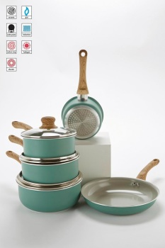 5-Piece Green Pan Set With Wood-Effect Handles