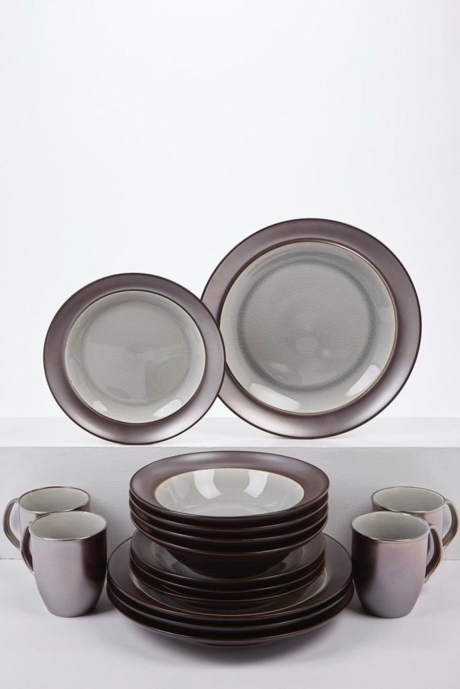 16-Piece Silver/Brown Metallic and Crackle Glaze Dinner Set …